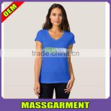 MS-1947 Custom 100% Cotton V neck Women T Shirt With Silk Screen Printing Logo Wholesale