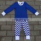 2015 fashion Christmas betty girl pajamas fall spring new Chevron stripped pajamas OEM baby boy sleep wear set