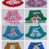 New Design Summer Kids Clothes Boutique Toddler Girls Flower Printing Ruffled Shorts Children Ruffle Icing Shorts