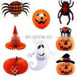 8pcs set spiders, hat, pumpkins, and balloon honeycomb paper flower for halloween decoration
