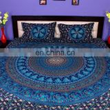 Indian Mandala Bluel Duvet Cover Ethnic Quilt Covers Hand Screen Printed Doona Cover Blanket With Pillow Cover
