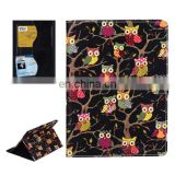 Owls Pattern Cross Texture Smart Cover Leather Case with Card Slots & Holder & Sleep / Wake-up Function for iPad Air 2