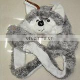 wolf hat with long scarf and glove