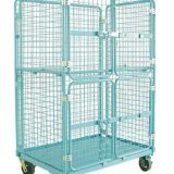 Warehouse storage folding metal trolley with wheels