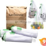 Reusable Produce Bags Mesh with Drawstring Durable Overlock-Stitched Strength See-Through Washable Storage Bags