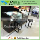 Black wooden watch display showcase furniture with tempered glass