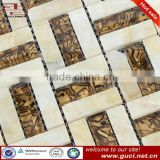 Mix Travertine and glass mosaic and china supplier new design house plan house good qulity cheap price wall mosaic tile