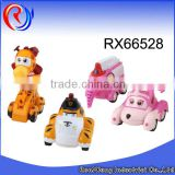 Plastic little kids car,friction cartoon animal car toy