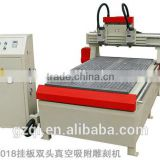 guangzhou manufacturer QL-1018 hanging plate cnc double-spindle vacuum adsorption engraving machine