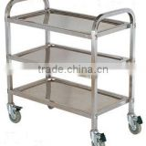OEM Stable Reliable 3-tier Stainless Steel Trolley With Castor