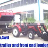 35HP 4wd mini farm tractor with front loader and backhoe,4cylinders,8F+2R shift,with Cabin,heater,fan,fork,blade