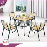 Foshan garden furniture low price new design modern outdoor wooden square leisure table set