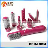 110v-220v 7 in in 1 DIY multi-function curling iron sticks hot air brush with comb hair straightener hair dryer