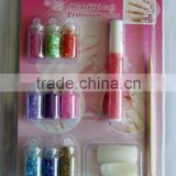 konad nail art set (MJE-0036) with flakes/glitter powder/flitter/mini beads mix + nail file/tip