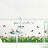 """Korean Style Flower Butterfly"" PVC Wall Stickers, Removable Wall Stickers, Can be used as Baseboard 1/3"