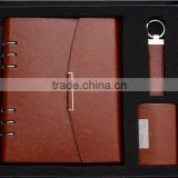 business meeting promotional gifts set made notebook and pen usb disk inside with customized company logo