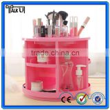 Beautiful lady rotatable pink counter clear acrylic make up organizer with dividers, custom lipstick holder make up organizer