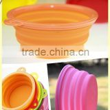 A-bomb New Food Grade Eco-friendly Food Grade Folding Colorful Silicone Pet Dog Bowl For Travel