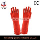 rubber glove with velvet lining inside/red color long household warm rubber glove velvet latex glove