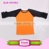 Boys and girls boutique wholesale Halloween holiday shirts orange and black icing ruffle tshirts raglan tops kids wear new model