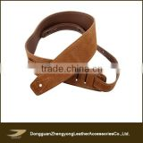 Excellent quality custom full grain leather guitar strap, black and dark brown rock guitar strap