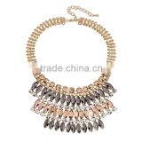 Hot Fashion Crystal Necklace Women Bib Statement Collar Chain Resin Leaves Pendant Necklace
