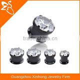TP01052 black ear plug piercing natural zircon gemstone jewelry
