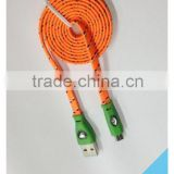 Hot Selling Colorful Flat Noodle Diamond LED Fabric Braided Micro USB Cable for Samsung HTC