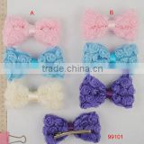 2014 Newest Fashion Ribbon Hair Barrette plain metal barrettes wholesale Bow Women Hair Clip