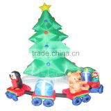 Christmas tree inflatable with rotating train/ LED sitting the penguin &teddy bear Indoor use
