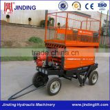 4 wheels movable self gasoline motor hydraulic scissor lifts machine