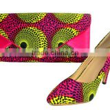 2014 hot selling african wax print shoes and matching bags for ladies