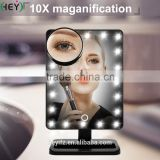 New Arrival ABS Rotating Desktop 20LED Lights Makeup Mirror With Small 10X Magnification Sucker Mirror