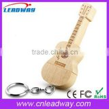 Wooden or bamboo guitar usb flash drives with key ring for promo
