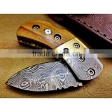 A SLIM AND SMART WITH ROSE WOOD HANDLE, HANDMADE DAMASCUS STEEL BACK LOCK HUNTING FOLDING POCKET KNIFE