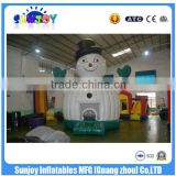 New Snow Man Inflatable Bounce House / Cute Safe Baby Bouncer For Christmas