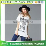 Hot Sale women's V Neck Printed Longline T Shirt Ladies 100% Cotton Printed Tee Shirt