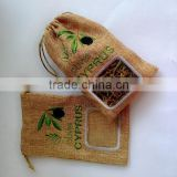 linen pouch soap bag/tourist souvenir with olive embroidery with drawstring