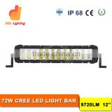 Car accessory auto lighting double row 72w led light bar for truck,offroad,bus,suv,atv,utv