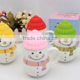 New products 2016 novelty for christmas of Hand Painted Ceramic Travel Mug ,ceramic snowman cup with vary colour