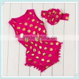 New Arrival Baby Sequin Polka Dot Kids Rompers Wholesale Baby Romper Hot Pink Vest Cotton Romper Bubble Rompers