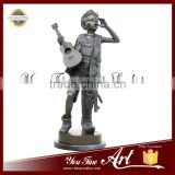 Outdoor Decor Bronze Boy Statue With Guitar Statue
