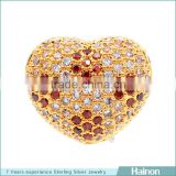 heart shape beads in sterling silver material support more color zircon paved for custome oem
