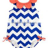 girls 4th of july blue chevron romper suit infant girl union suit pure cotton toddler girls petal romper charming cute bodysuit
