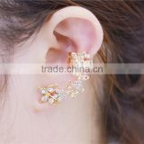 Gold Plated Butterfly Rhinestones Hook Earrings Earring Cuffs