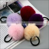 China Supplier Real Rex Rabbit Fur Elastic Hair Ring Accessories Pom poms Hairbands