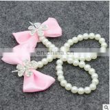 Flower Sandals Simulated Pearl Anklets Newborn Baby Girls Foot Band Toe Rings First Walker Barefoot Sandals Anklets Kids