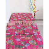 QUILT 100 COTTON QUEEN DOUBLE FRUIT PRINT KANTHA BEDSPREAD THROW INDIAN PINK COLOR HANDMADE FABRIC BEDSHEET