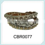 Hot sale punk style bracelet fashion design leather braided crystal bracelets, stamping gold riveted bracelet