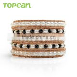 Topearl Jewelry Freshwater Pearl Faceted Black Crystal Pearl Woven Fashion Leather Bracelet CLL130